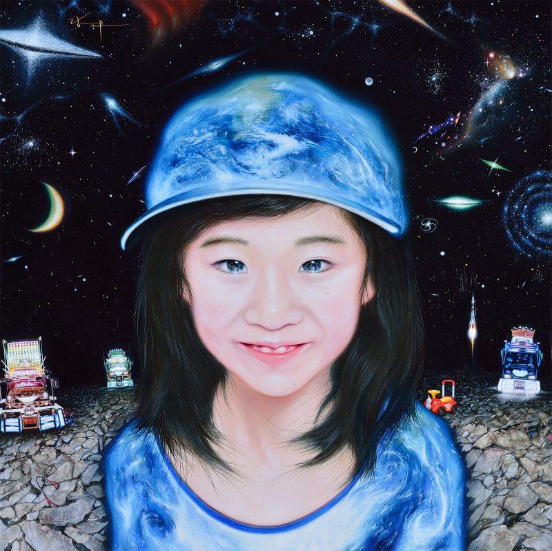 Earth Girl 2013 板 白亜地 油彩 53×53cm 個人蔵