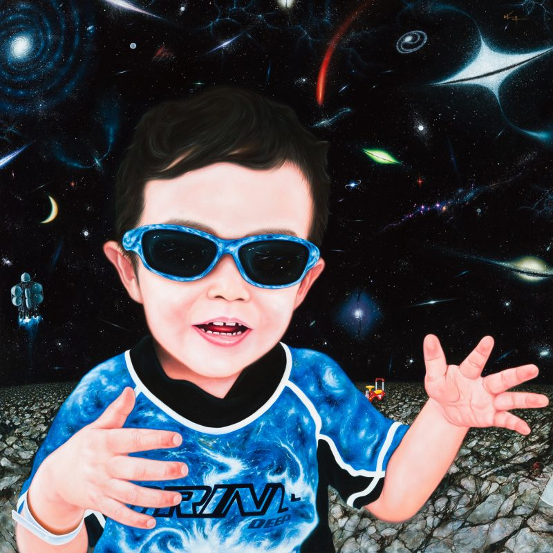 Earth Boy 2014 板 白亜地 油彩 116.7×116.7㎝ 作家蔵