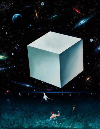 Sea area:Cube 2014 板 白亜地 油彩 24×19㎝ 個人蔵