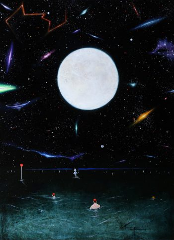 Sea area:Moon 2015 板 白亜地 油彩 33.3×24.2㎝ 個人蔵